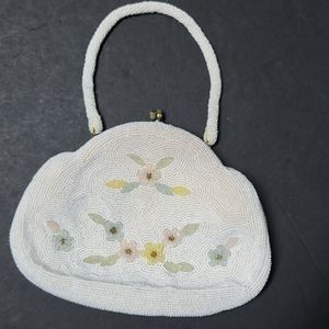 Vintage Beige Small Beaded Evening Bag Floral